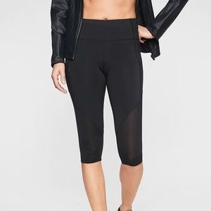 NWOT Athleta Black Mesh Crop Capri Leggings
